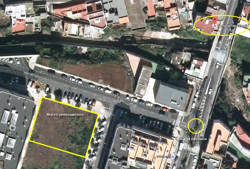 Mapa localización aparcamiento rotonda Finca España